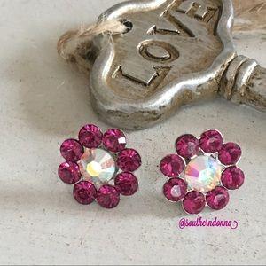 Jewelry - Adorable Pink Rhinestone Flower Earrings 💕